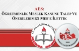 AES: Öğretmenlik Meslek Kanunu Talep ve Önerilerimizi MEB'e İlettik
