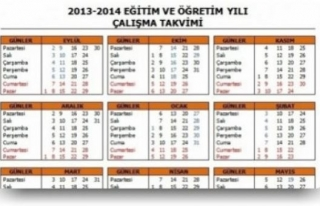 MEB 2/13-2014 ÇALIŞMA TAKVİMİNİ YENİDEN DÜZENLEDİ...