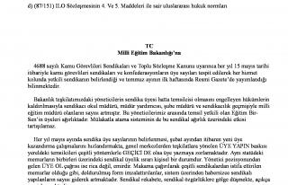 MEB'DEN ZORBA SENDİKACILAR İÇİN GENELGE..
