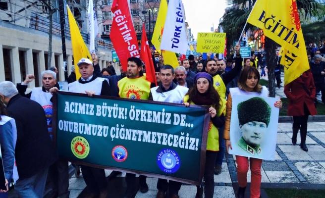 SENDİKALAR YALOVA VALİSİNİ İSTANBULDA PROTESTO ETTİ .....