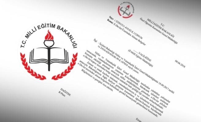 MEB e-devlet'ten alınan belgelerin kabulünü istedi