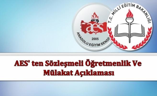 AES' Ten Sözleşmeli Öğretmenlik ve Mülakat Açıklaması
