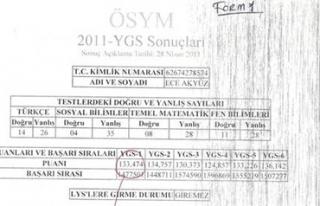 YGS puanı 133'ten 427'ye fırladı