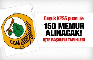 DÜŞÜK KPSS PUANI İLE 150 MEMUR ALINACAK
