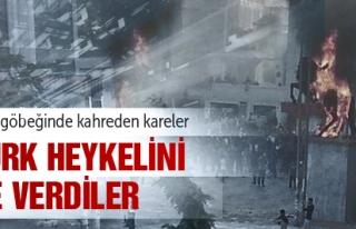 ATATÜRK HEYKELİNİ ATEŞE VERDİLER !