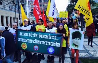 SENDİKALAR YALOVA VALİSİNİ İSTANBULDA PROTESTO...