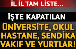 KAPATILAN, ÜNİVERSİTE, ÖZEL OKUL, HASTANE, DERNEK...