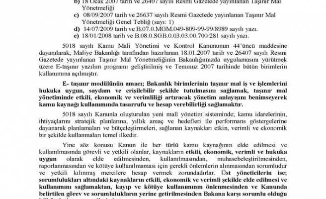 "MEB ""BAKANLIK TAŞINIR MALLARI 2011/24"" GENELGESİ"