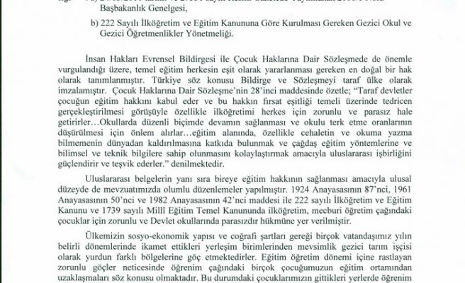 MEVSİMLİK GEZİCİ TARIM İŞÇİSİ ÇOCUKLARININ EĞİTİMLERİ 2011/25 GENELGE