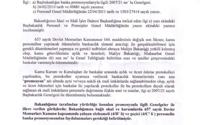 MEB 'BANKA PROMOSYONU 4/B VE 4/C LİLERE DE ÖDENMELİDİR' DEDİ