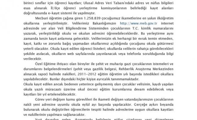 2011-2012 EĞİTİM ÖĞRETİM YILI E-KAYIT UYGULAMASI
