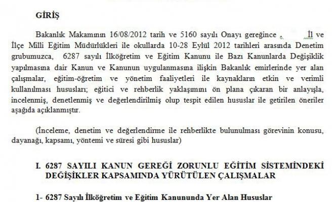 MİLLİ EĞİTİM CAMİASINDA RAPOR TELAŞI !
