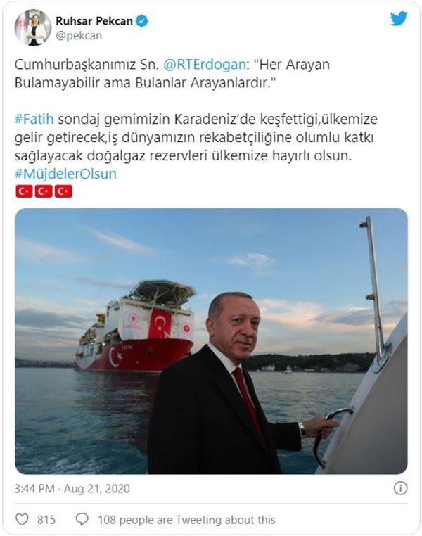 Fatih Sondaj Gemimizin Keşfettiği Doğal Gaz Rezervleri Ülkemize Hayırlı Olsun