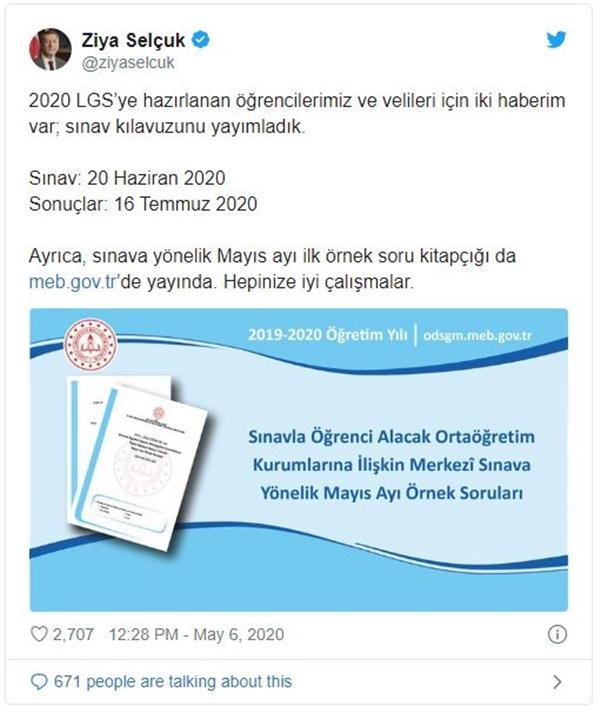 LGS Mayıs Ayı Örnek Soruları Yayımlandı
