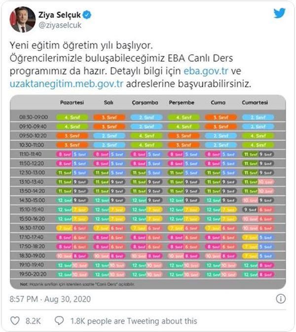 Milli Eğitim Bakanı Ziya Selçuk: EBA Canlı Ders Programını Paylaştı