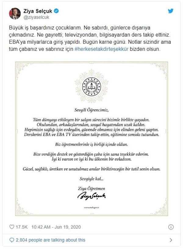Milli Eğitim Bakanı Ziya Selçuk: Öğrencilere Teşekkür Etti