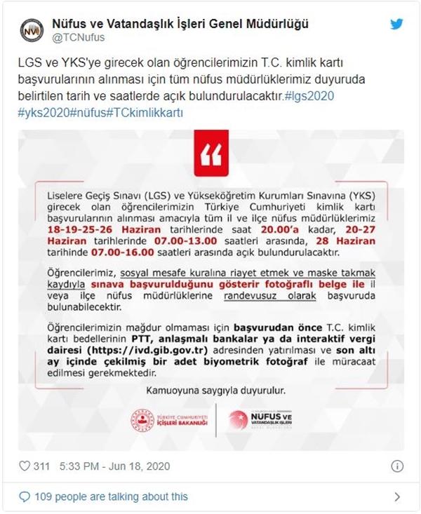 Nüfus Müdürlükleri, LGS ve YKS İçin Açık Olacak